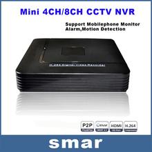 Mini HD CCTV NVR 4CH Video Recorder Onvif 8 Channel H.264 Network DVR For 720P 1080P IP Camera Surveillance System Best Price
