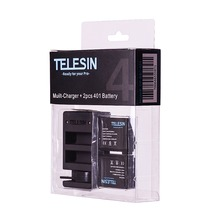 TELESIN Gopro hero 4 battery charger pack for Gopro4 WIFI REMOTE dual battery charger with 2pcs battery Go pro 4 accessories
