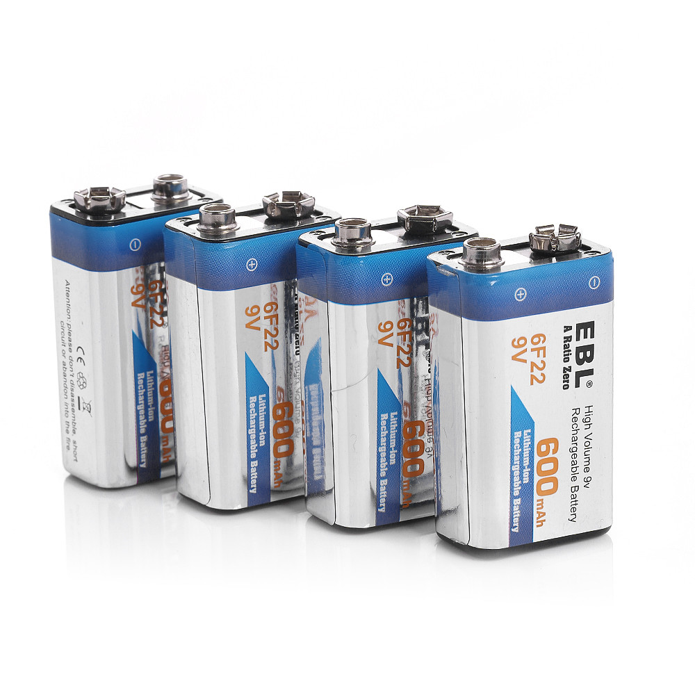 4pcs EBL 280mAh 6F22 Rechargeable Battery 9v Ni-MH Nickel Metal Hydride 9 Volt batteries Universal free shhipping(China (Mainland))