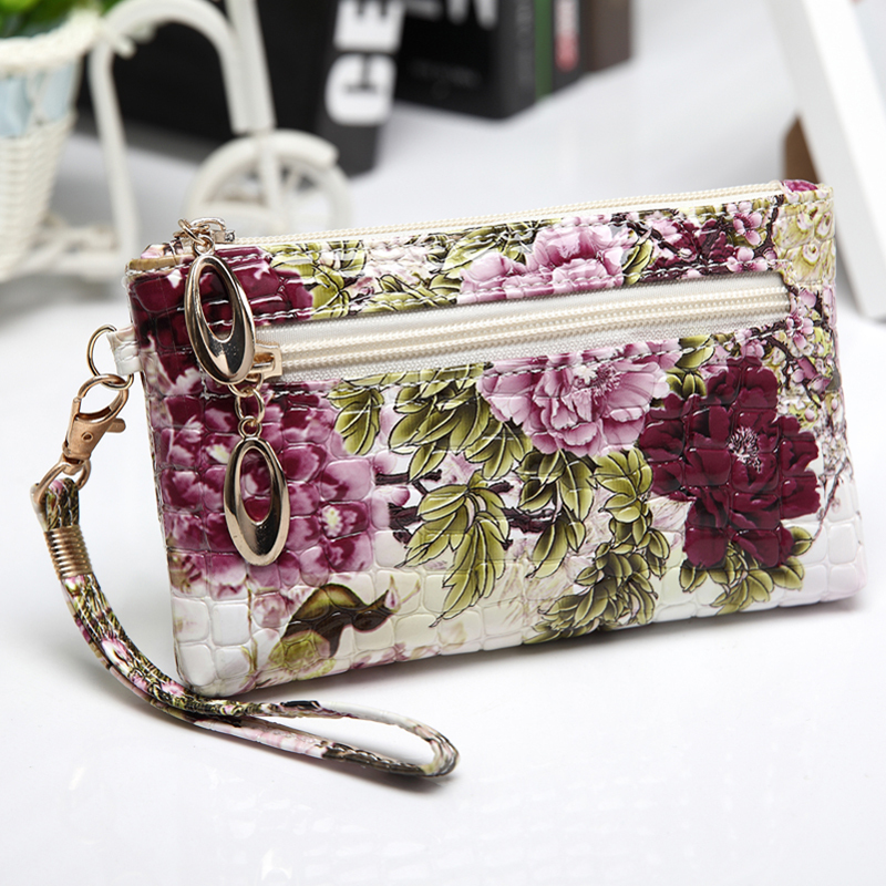 Fashion printing woman clutch bags peacock pattern small bag phone bags wallets Clutches handbags floral wallet free shipping(China (Mainland))