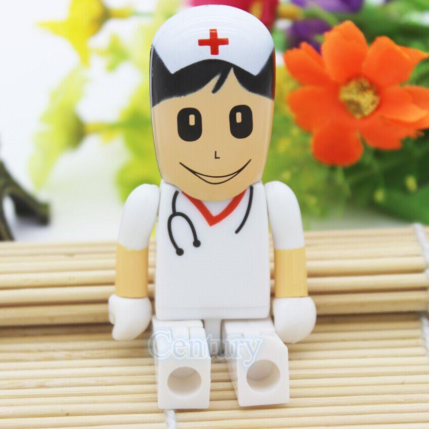 Hot sale white Doctor nurse model USB 2.0 usb flash drive Memory stick Pendrive 4gb 8gb 16gb 32gb thumb drives gift pen drive(China (Mainland))