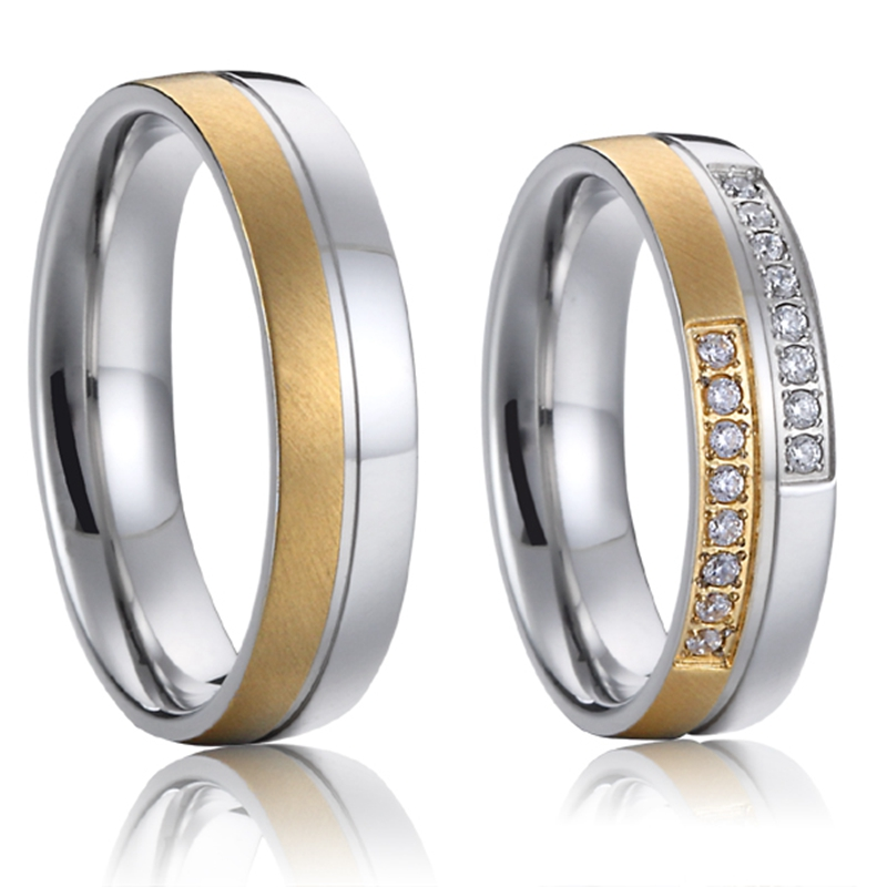 promise couple rings wedding bands sets gold color titanium steel jewellery designs 2016(China (Mainland))