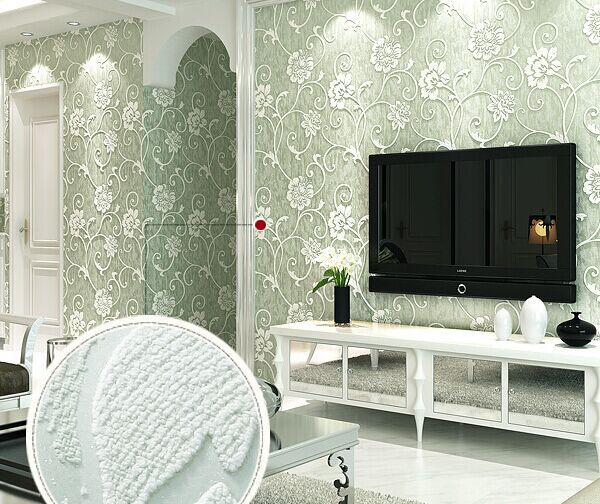 Nonwoven wallpaper 3D stereo flocking ultra thick pastoral floret bedroom living room backdrop wallpaper wallpaper
