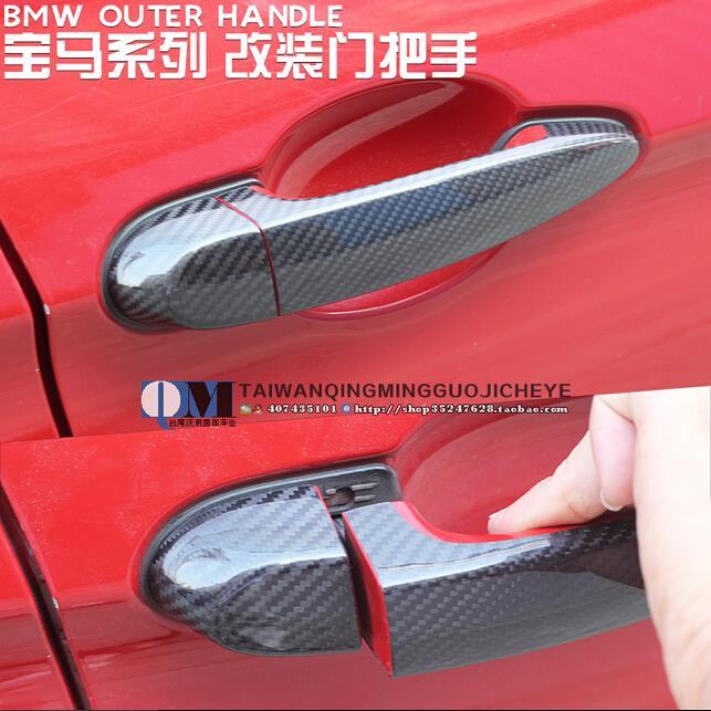 4pcs/set High quality carbon fiber material Plated Door Handle Car Sticker For BMW E30 E36 E39 E46 E60 E90 M3 M5 M6(China (Mainland))