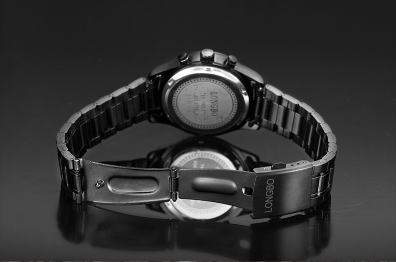 LONGBO Luxury Brand Черный Армия Спорт Многофункциональный Календарь Мужские Часы Аналоговый Дисплей Даты Световой Бизнес Наручные Часы 80100