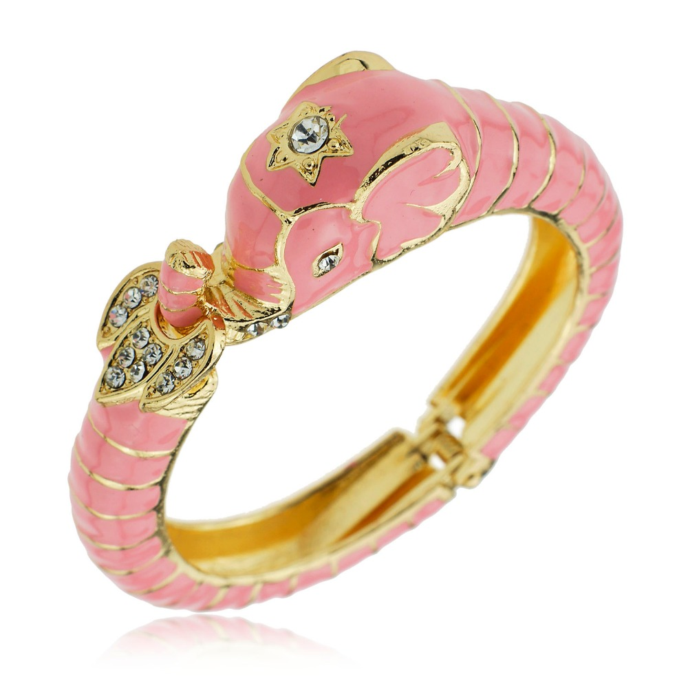 Fashion Exquisite Pink Enamel Elephant Cuff Open Hinged Bracelets & Bangles Bracelets For Women S048(China (Mainland))