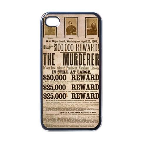 John Wilkes Booth Wanted Poster Black Case for iphone 4 Abraham Lincoln free shipping(China (Mainland))
