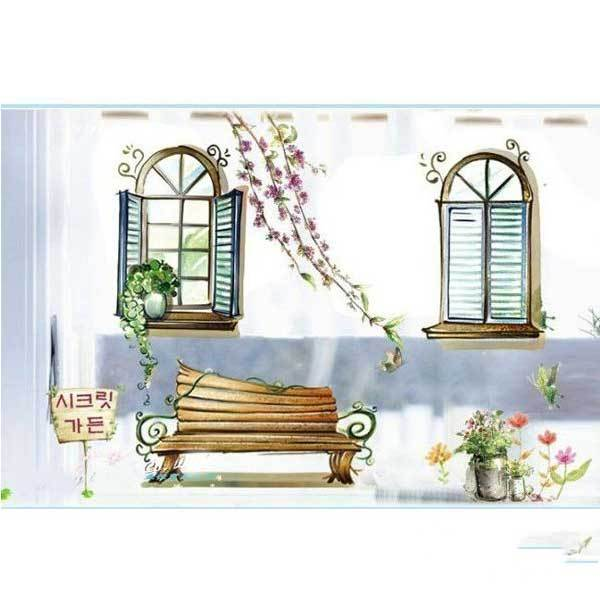 AltonBay Window Scenery Wall Sticker Stimulation Wood Window Stickers Decor(China (Mainland))