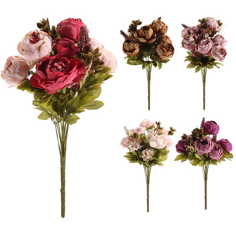 5 Colors Pretty Charming 1 Bouquet Artificial Peony Flowers Festival Party Decorative Flower Wedding Christmas Home Decal Flower(China (Mainland))