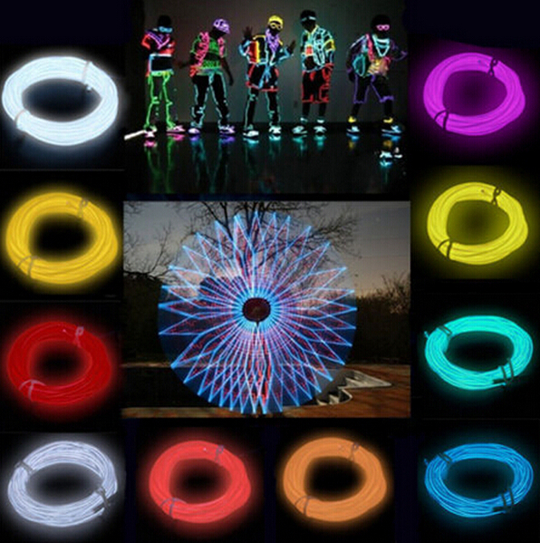 1M /2M /3M /5M Flexible Led Neon Light Glow EL Wire Rope Tube Cable+Battery Controller Water Resistant LED Strip light(China (Mainland))