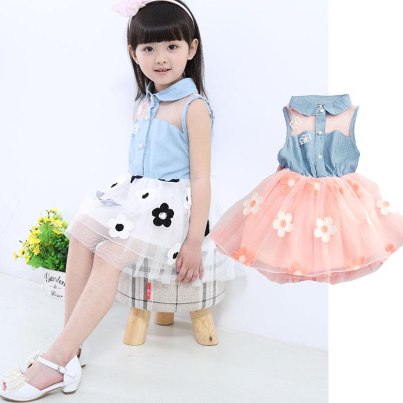 New Arrival 2015 Summer Baby Girls Kids Princess Denim Dress Floral TuTu Dress Kids Clothes Girl Lace Vestidos(China (Mainland))