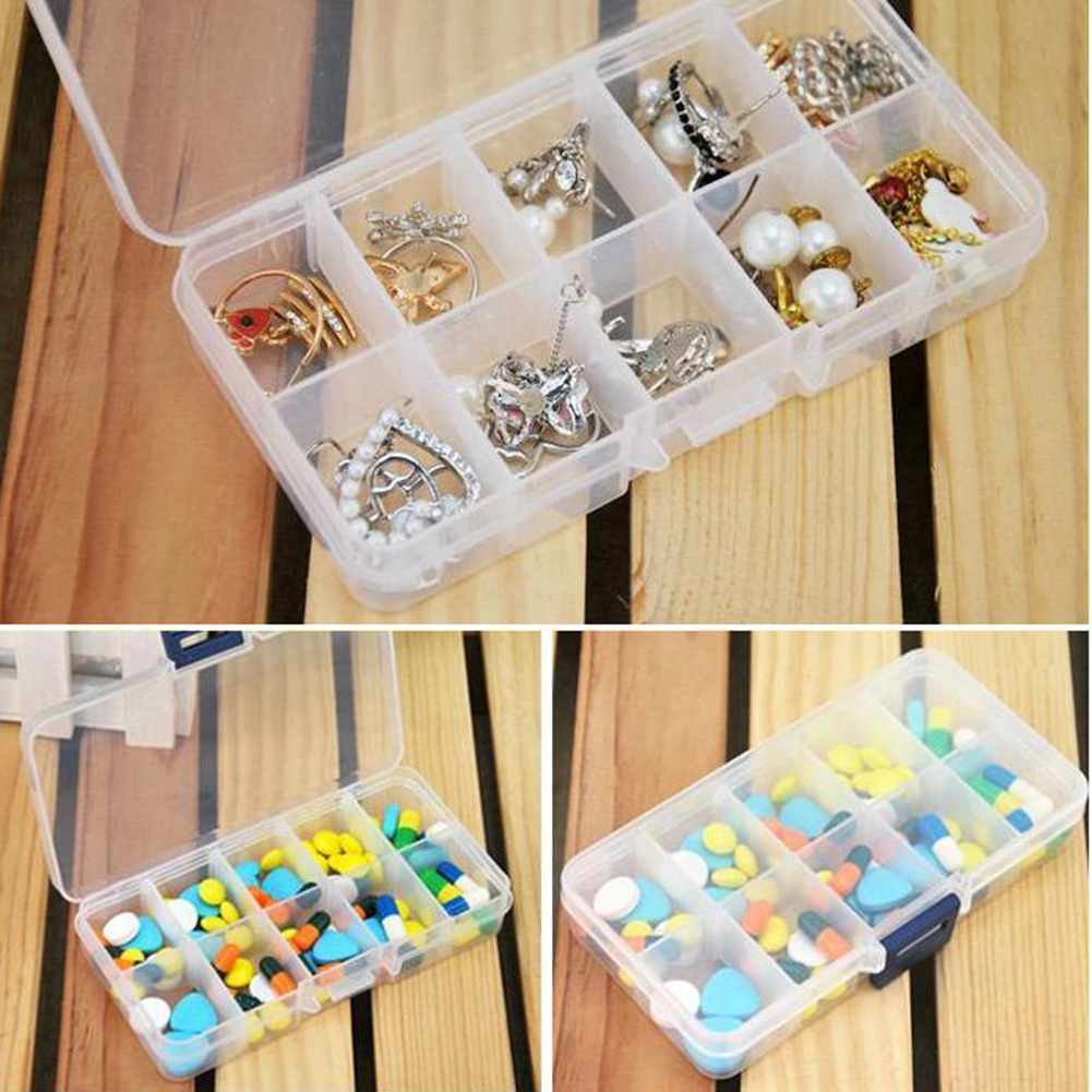 New Plastic 10 Slots Compartment Jewelry Necklace Clear Storage Box Case Holder Craft Organizer Hot(China (Mainland))