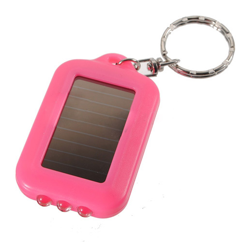 10X Mini Solar Power Rechargeable 3LED Flashlight Keychain - Pink(China (Mainland))