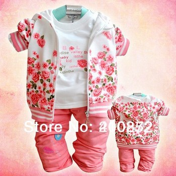 Retail autumn baby Girl's 3pcs Rose flower suits sets custome casual Children's set hoody jacket long sleeve t shirts + trousers