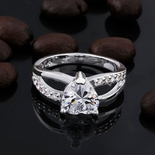 Beautiful lover lady valentine gift Plated Silver Rings wedding stone crystal Jewelry free shipping factory price