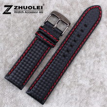 18mm 20mm 22mm 24mm Mens Black Waterproof Red Stitching Carbon Fiber With Genuine Leather inner Watch Band Strap