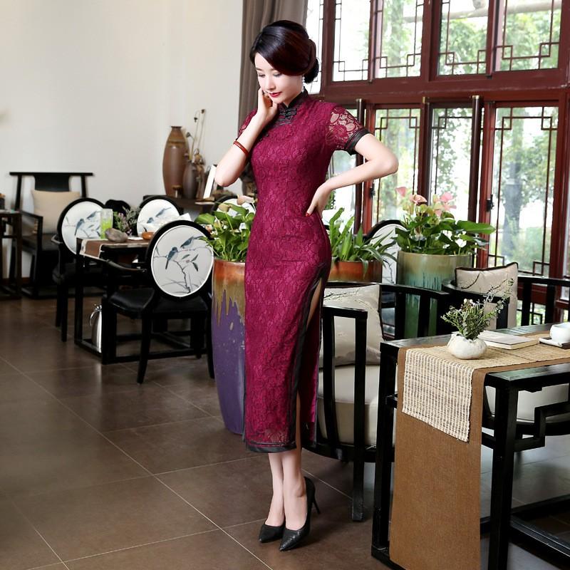 ยุโรปวินเทจสตรีลูกไม้ยาวCheongsamจีนแฟชั่นสไตล์การแต่งกายที่สวยงามQipaoขนาดSml XL XXL XXXL F101405 ถูก