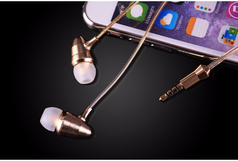 Newest Gold Alangduo Bullet Earphones HIFI Super Bass DJ Professional Monitor Headset 3.5mm In-Ear Universal Earbuds With Mic