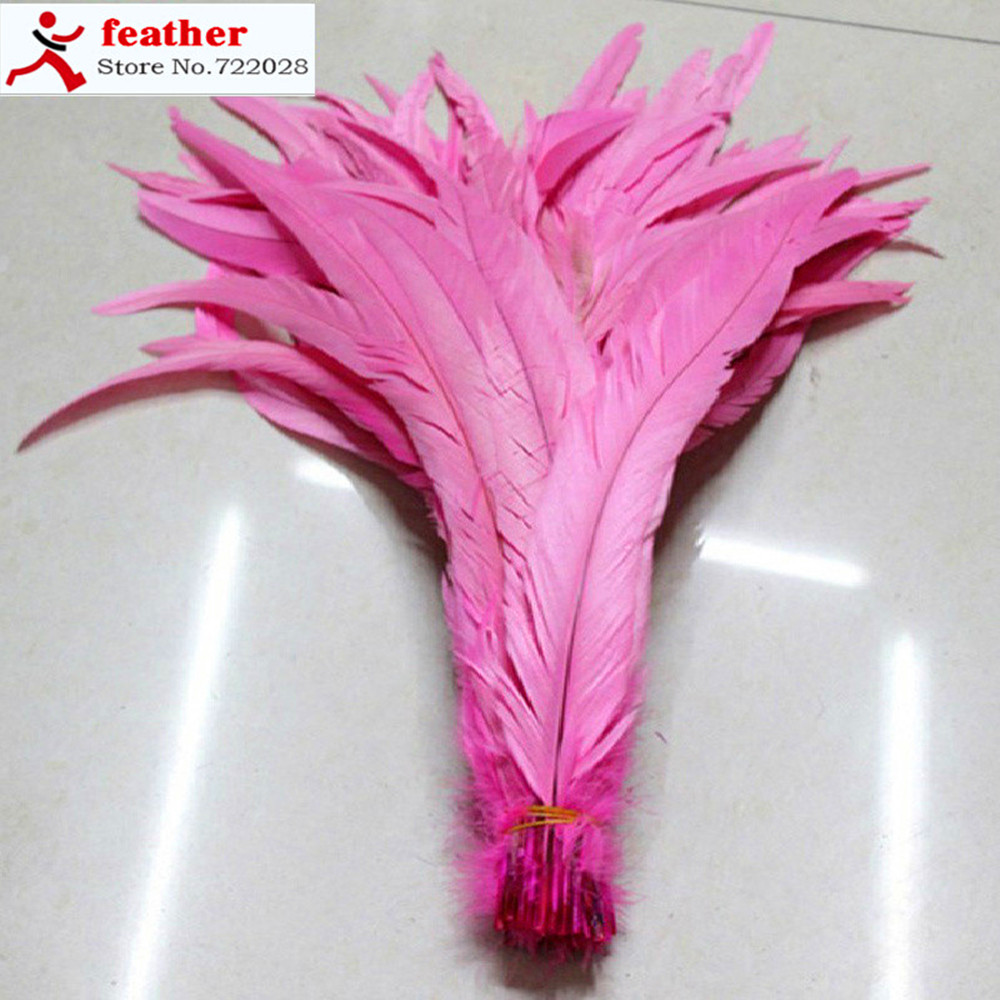 100 PCS pink rooster tail hair 12-14 inches dyeing conque 30 to 35 cm/rooster tail feather decoration(China (Mainland))