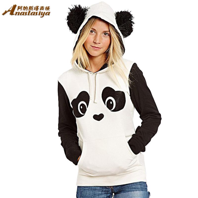 2015 Spring Autumn Fashion Women Hoodies Panda Cute Warm Cotton Woman Sweatwear Outerwear casual jackets(China (Mainland))