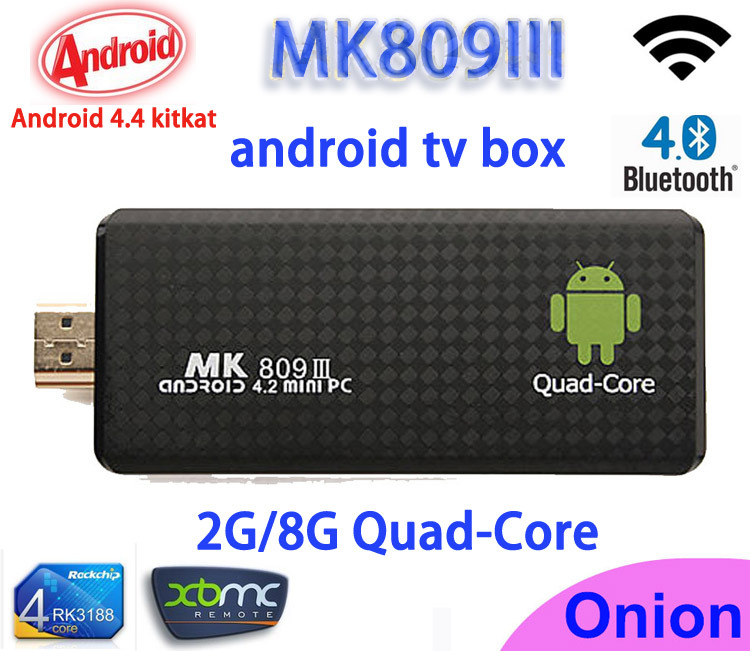 Android 4.4 mini PC Quad core RK3188 Google android tv stick MK809III 2GB/8GB Bluetooth Wifi HDMI MK809 III,XBMC smart tv(China (Mainland))
