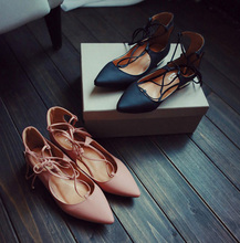 Chaussure Talon Compensees Femme Star Favorites Vintage Pointed Toe Flats Shoes Brand Designer Ankle Strap Shoes Pink Shoes
