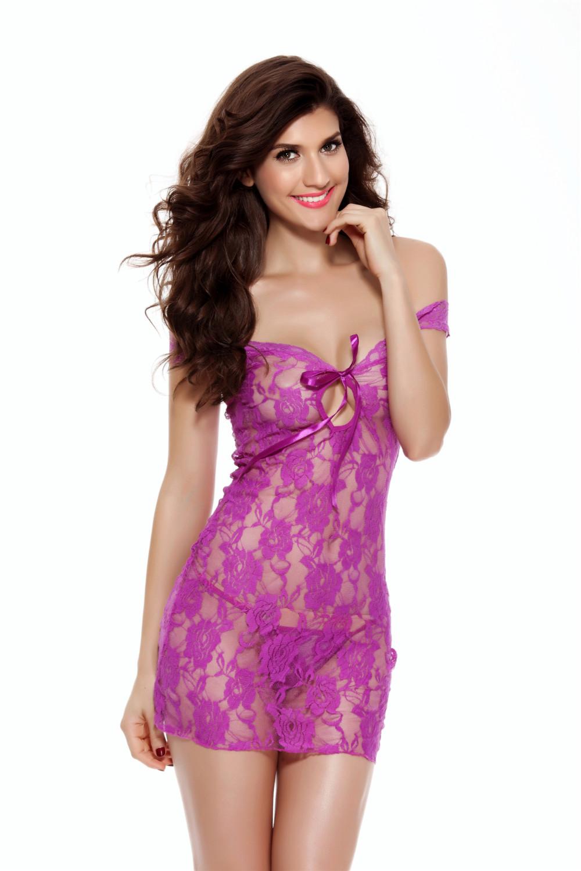 Plus Size Women Sexy Lingerie Lace Babydoll Off Shoulder