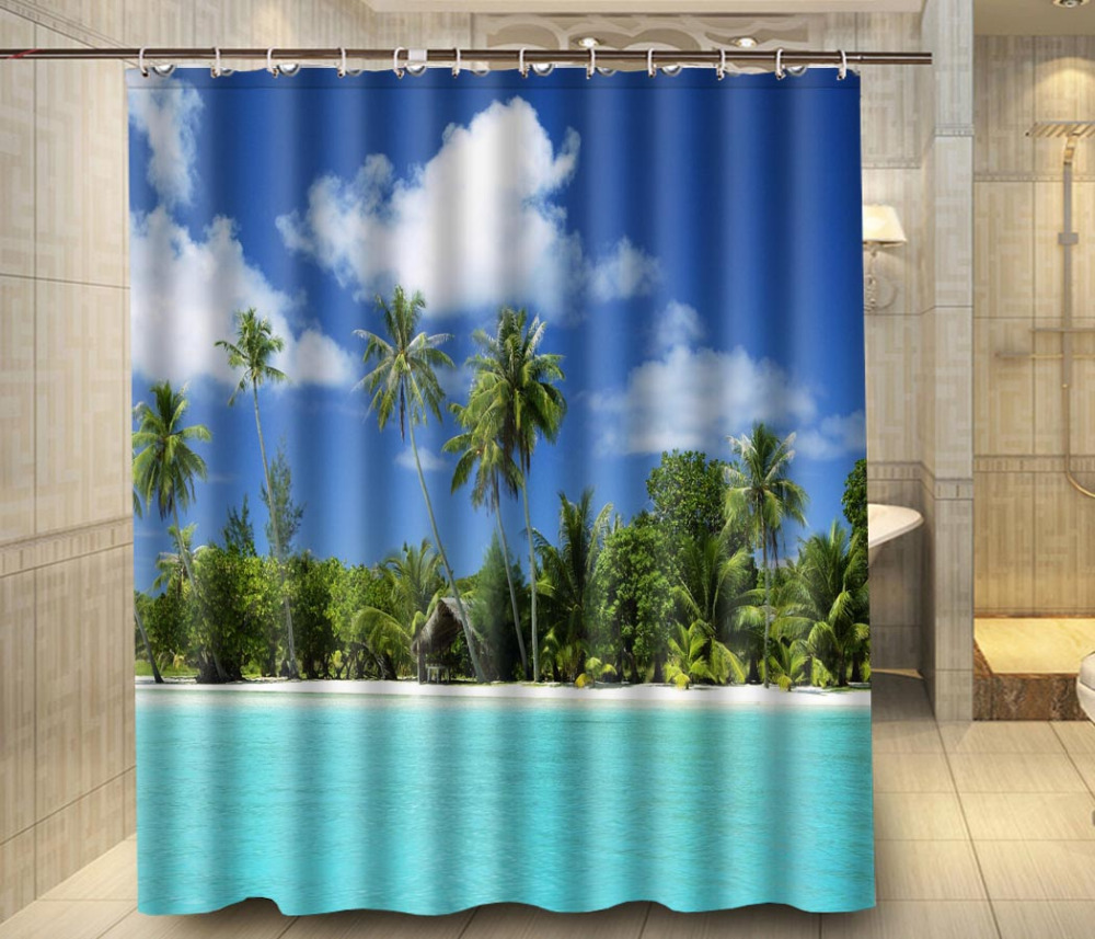 tropical beach palm tree sky custom shower curtain