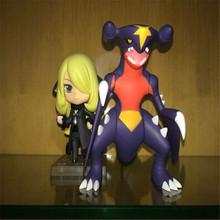 Hot Pokemon PVC Nendoroid Cynthia And Garchomp Action Figures Toys Anime Collectible Model TY84 Garchomp TY84 2016 NEW