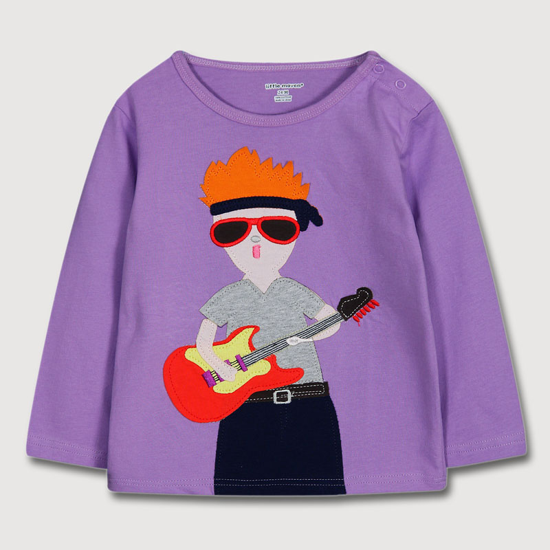 Autumn Fashion Boys Round Neck Long Sleeve T shirt Rock Singer Embroidery Pattern Kids Children Clothing For 1 - 6 years old(China (Mainland))