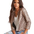 Alishebuy Fashion Women 3 4 Sleeve Open Front Sequined Short Slim Jacket