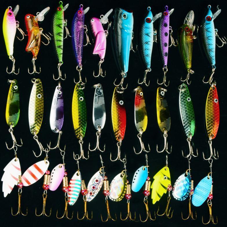 Fishing Lure Kits Hard ARTIFICIAL LURES MINNOW FISHING LURES Set Japan Steel Balls 30Pcs Blade Fish Bait Cheap Tackle NEW 2016(China (Mainland))