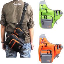 32*39*12CM iLure Multifunction Waterproof Shoulder Fishing Bag Canvas Carp Fishing Reel Lure Tackle Bag Green/Orange/Black(China (Mainland))