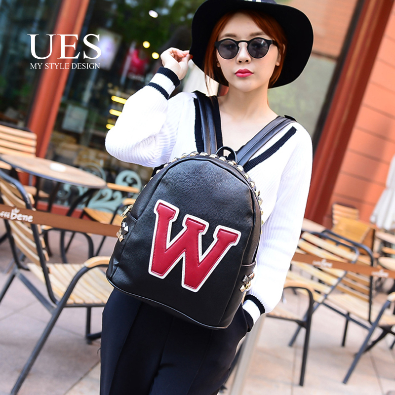 UES Fashion Brand W Black Word Design Woman Backpack High Quality Pink Casual Outdoor Bag for lady Famous Design 2015(China (Mainland))