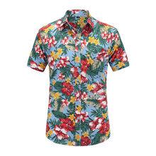 Dioufond Мужская рубашка с коротким рукавом Гавайская Мужская рубашка в стиле кэжуал подходит для летних рубашек с рисунком Фламинго хлопок му...(China)