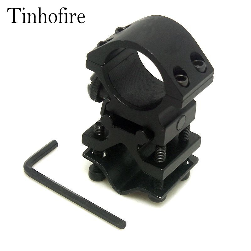 Tinhofire 1inch 25.4mm Ring and 20mm Rail Action Tactical Flashlight Laser Torch Surefire Barrel Streamlight Bracket Mount(China (Mainland))