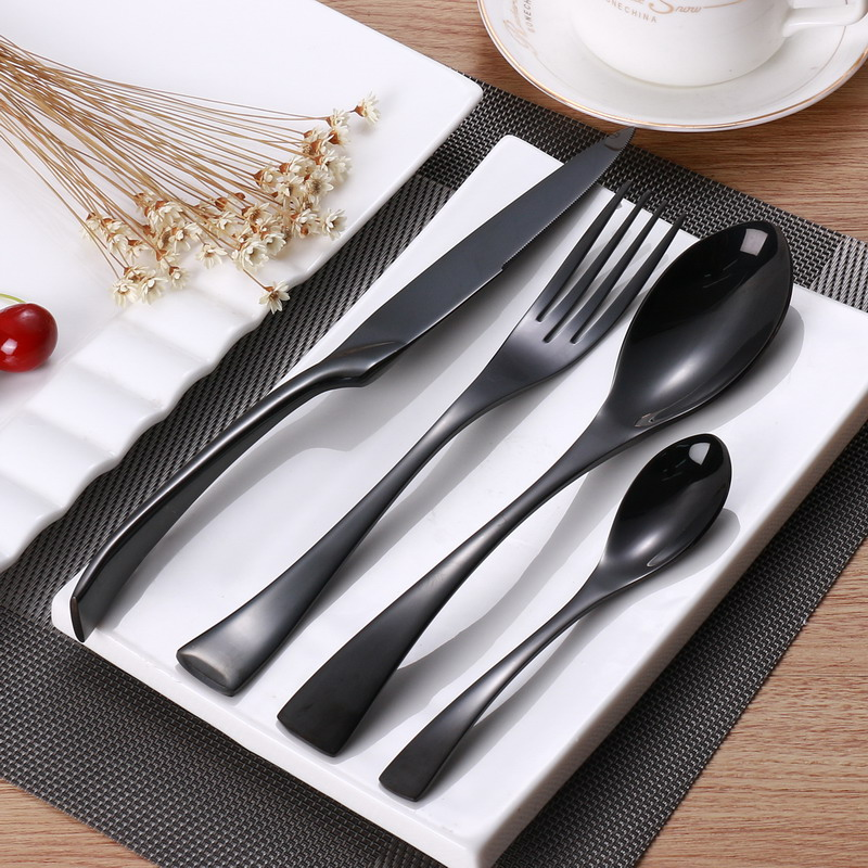 24PCS Stainless Steel Cutlery Set Black Flatware Sets Gift Mirror Polishing Silverware Sets Dinner Spoon Knife and Fork Set(China (Mainland))