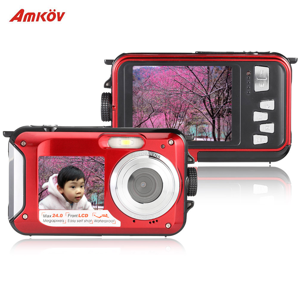 "Amkov Double Dual LCD Display 2.7"" Selfie Digital Camera Video Camcorder Recorder Anti-shake 1080P HD 24MP 16X Digital Zoom(China (Mainland))"