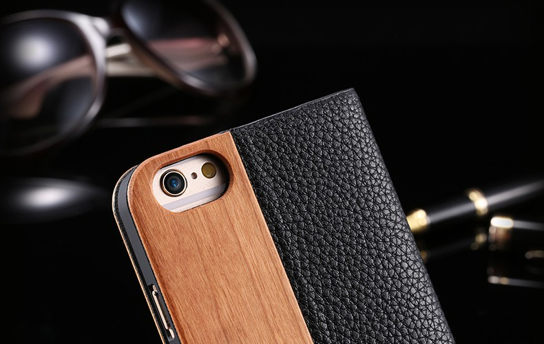 FLOVEME Retro Wood PU leather Flip Cover for iPhone 6 6s 6plus 6splus Case Card Slot Stand Stents Business Shell funda coque