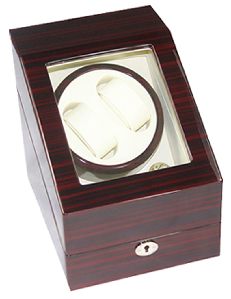 [100% Handmade]Exteremly Quiet High-end Walnut Color Wooden Watch Winder Capacity for 2 Automatic Watches with 3 Grids Storage(China (Mainland))