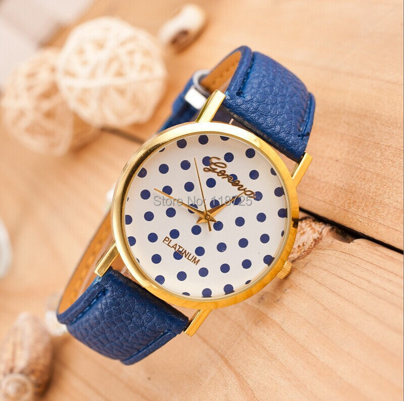 LZ Jewelry Hut W5 2014 New Fashion 11 Colors Leather Strap Dial Casual Geneva Speckle Women Dress Watches(China (Mainland))