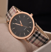 2016 Hot Sale Top Luxury Brand Casual Quartz Watch Gold font b Plaid b font Strip