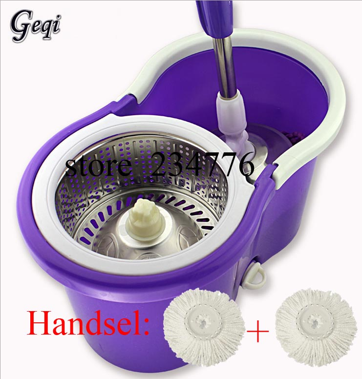 Geqi water cube cleaning dry mops 3 heads New Magic Spin Mop Bucket No Foot Pedal Rotate 360 Degree cleaning tools 3239(China (Mainland))