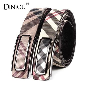 [Diniou] New 2015 Designer Belts Men High Quality Plaid Genuine Leather Belts For Men Fashion Brand Mens Belts Luxury ZY-12