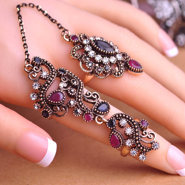 Adjustable Turkish Two Finger Rings For Party