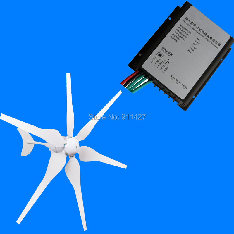 400W AC 12V Wind Turbine Generator 6 Blades Carbon Fiber With Wind Charge Controller(China (Mainland))