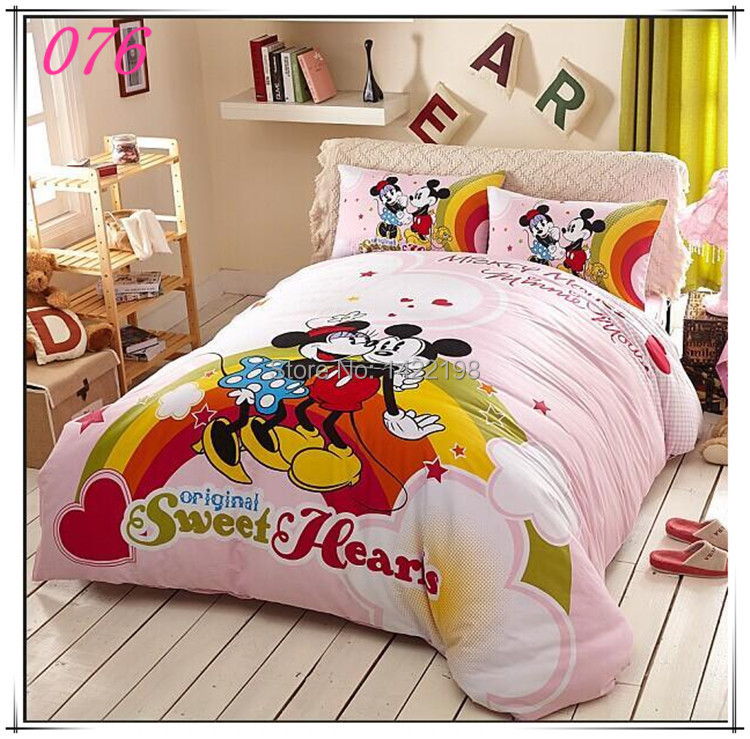 free shipping kids cotton cartoon mickey minnie mouse 4pcs bedding set twin full queen size. Black Bedroom Furniture Sets. Home Design Ideas