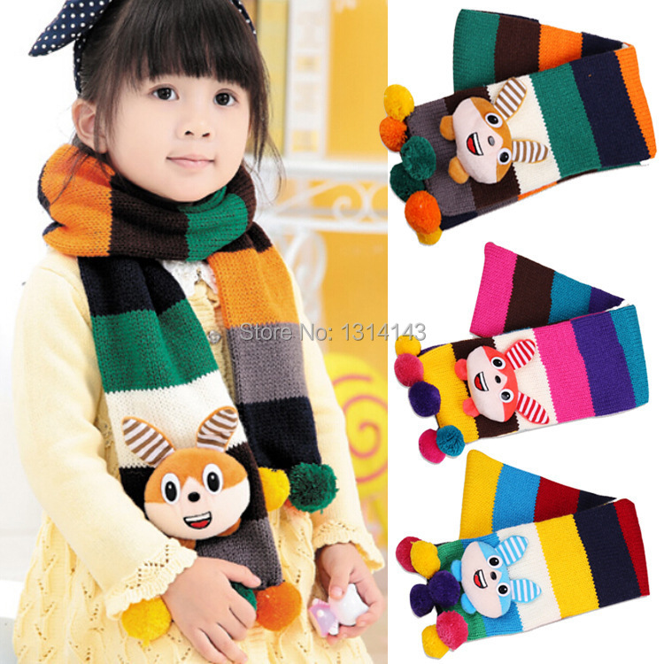 Trendy style2014 New Freeshipping Hot Sale Korean Children Colorful Scarf Cartoon Bunnies Accessory Winter Manufacturers for And(China (Mainland))