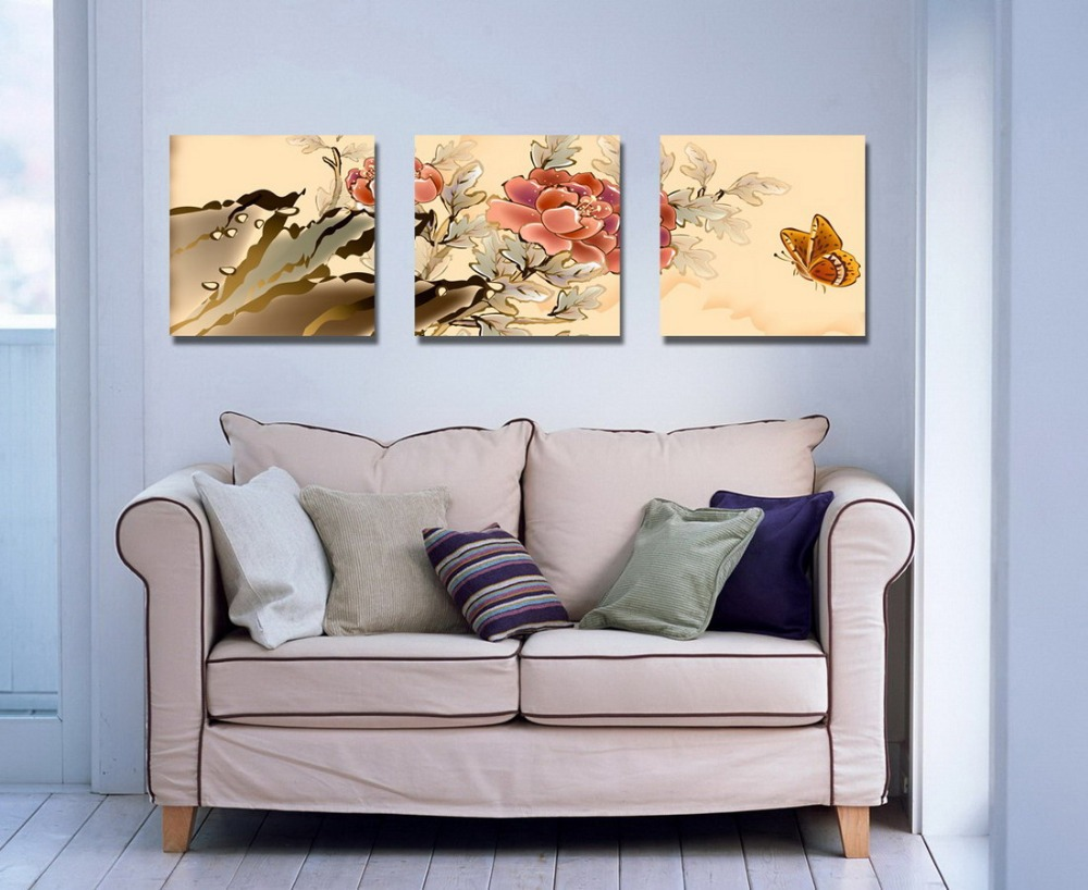 NEW Framed art print Picture animal print wall decor 3 piece canvas Chinese wind butterfly and clubs zshua DY(252)(China (Mainland))