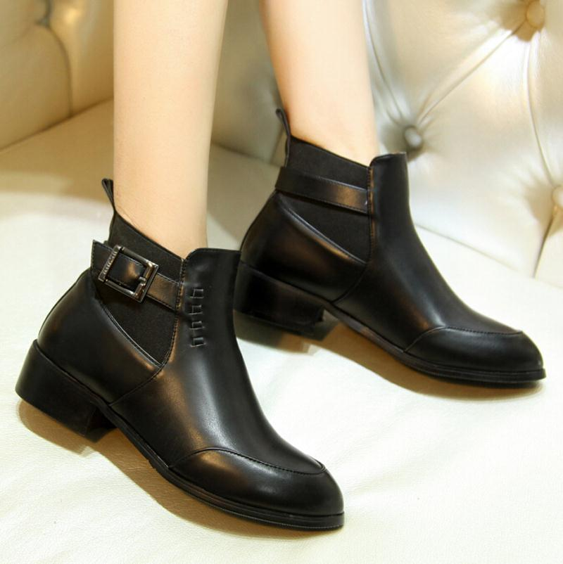 new  Autumn Boots Buckle Shoes Women Flats Heel women boots Round toe Platform Ankle Boots Punk rock Martin boots